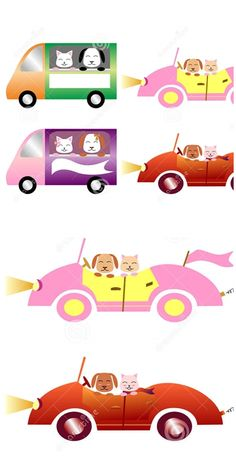 #vector #illustration #Colorful #cars with #pets: dog and cat