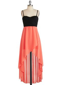 Daydreaming of Destiny Dress - Black, Coral, Cutout, Empire, High-Low Hem, Spaghetti Straps, Sweetheart, Wedding, Party, Girls Night Out, Short, Maxi