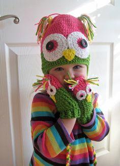 Kids owl hat and gloves children's crochet knit on Etsy, $30.00