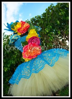 BIRD OF PARADISE Floral Crochet Tutu Dress with Couture Feathered Headpiece