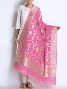 Pink Silk Zari Handwoven Dupatta by Ekaya Indian Dress Up, Indian Attire, Indian Wear, Punjabi Dress, Saree Dress, Saree Blouse, Ethnic Outfits, Indian Outfits, Indian Clothes