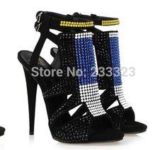 premium selection 49908 b2064 New 2014 Womne Genuine Leather Sandals Crystals Rhinestone Sandals Brand  Thigh High Heels Sandals Women Summer Gladiator Shoes