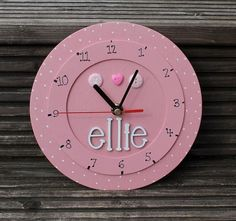 Childrens clock personalised clock wooden clock by scratchycat