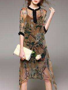 Half Sleeve Printed Vintage Two Piece Midi Dress