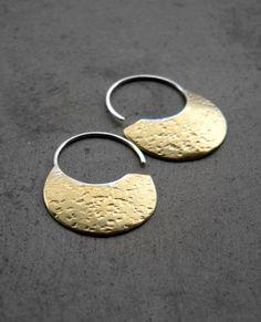 Little Urban Hoops - Brass Earrings - sterling silver organic earrings, geometric, texturized, made in Italy
