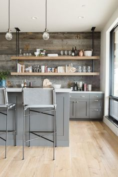 Industrial designed wet bar with reclaimed wood and pipe shelving BM Kendall Charcoal cabs