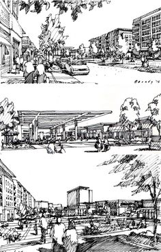 Preliminary Study Sketches. Approximately 20-30 minutes each.  Drawings by Bruce Bondy, Bondy Studio.
