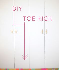 Add colorful contact paper to cover the toe kick of cabinets. It's a non-permanent way to add color to the office!