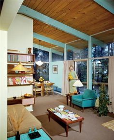 Mid-Century Modern home interior - love all the turquoise and pale blue, right up to the beams