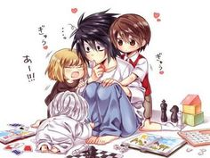 Death Note chibi Mello, Near, Light and L