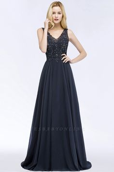 A-line Appliques V-neck Sleeveless Floor-Length Bridesmaid Dresses with Crystals   Yesbabyonline.com