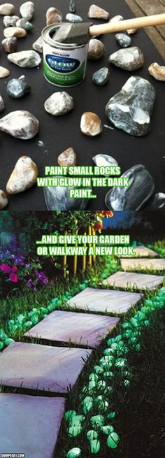Glow in the dark paint is so practical for so many reasons.....paint an old can or two and take it camping to mark your camp site for visitors.....paint handrail so it is easy to find at night.....paint wind chimes, garden tools....the list is as long as your imagination!  - Garden Ideas