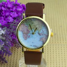 Hot Sales Popular Alloy Women Casual Retro World Map Watch Leather Analog Quartz Wrist Watch NO181 5V5K #Affiliate