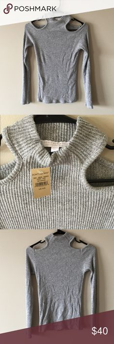 NWT grey cold shoulder sweater from American Eagle American eagle Don't Ask Why cold shoulder high neck top. One size fits most, I'm usually a medium and it is tight but long enough. New with tags, machine wash cold. A grey ribbed style American Eagle Outfitters Sweaters