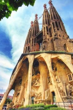 Sagrada Familia - Barcelona, Spain.  Our word gaudy comes from the name of the architect of this building and many other fantastic, whimisical buildings in Barcelona--Gaudi.