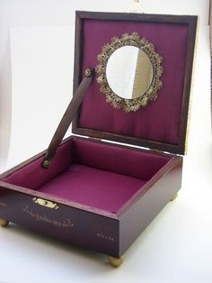 upcycled cigar boxes   Jewelry Box - Upcycled Burgundy and Gold Cigar Box