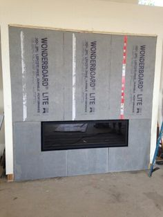 Fireplace prepped with WonderBoard and Ready for Stone at Wrightwood!