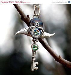 SALE Steampunk Peridot Key Necklace by KeypersCove on Etsy