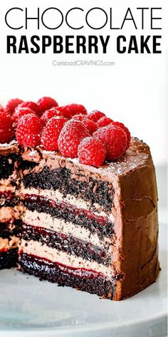 Amazingly Rich, Tender And Moist Dark Chocolate Raspberry Cake With Layers Of Luscious Raspberry Jam And Silky Chocolate Mascarpone All Enveloped In Rich Dark Chocolate Ganache The Best Chocolate Cake You Will Ever Have Via Carlsbadcraving Beattys Chocolate Cake, Too Much Chocolate Cake, Chocolate Raspberry Cake, Homemade Chocolate, Delicious Chocolate, Chocolate Recipes, Raspberry Cake Filling, Chocolate Frosting, Delicious Food