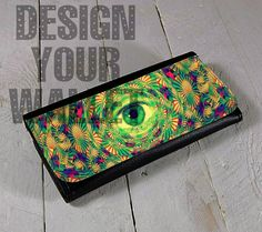 Womens Wallet Leather bifold all seeing evil eye abstract #womenswallet #leatherwallet #personalizedwallet #wallet #evileye