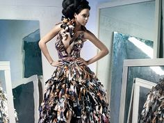 Dress made of old VOGUES magazines #chicunderground #eco #sustainable #vegan #fashion #show #paper #recycling