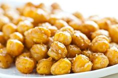 Roasted chick peas. High in protein, crunchy like a chip