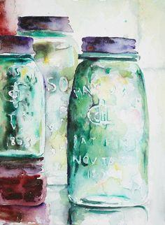 mason jar watercolor