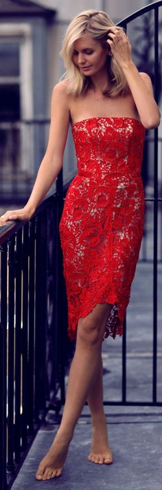 Tuula Vintage - Red Lace Bodycon Off Shoulder Midi Dress. Red Prom Dress Prom Dresses.