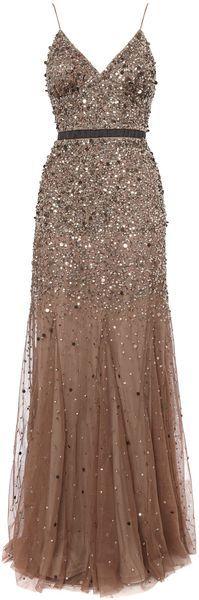 Untold Beige Beaded Godet Dress
