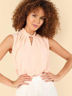 V Cut Choker Neck Shell Top. V CutsChristian ShirtsBlouses For WomenShein  ... 567d7d374