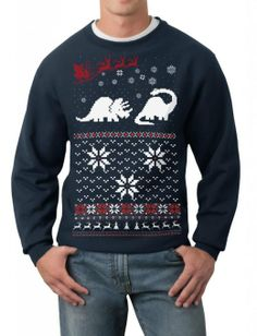 Amazon.com: Skip N' Whistle Men's Ugly Christmas Sweater Santa Dinosaur Pullover Sweatshirt: Clothing