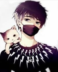 Cat On Man S Shoulder Anime With Mask Scech Google Search Cute Boy Drawing Anime Drawings Cute Anime Boy