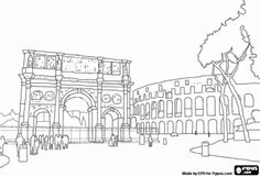 The Arch of Constantine and the Colosseum in Rome, Italy