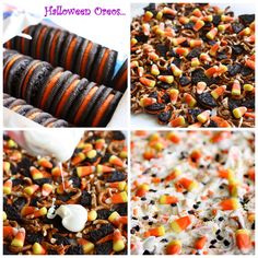 Halloween Candy Corn Cookie Bark  14 whole Oreos, broken up (use Halloween Oreos if you can find them)  1 1/2 cups pretzels - any shape, broken into pieces  16 ounces almond bark or white chocolate melts  1 cup candy corn  brown and orange colored sprinkles