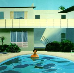 "David Hockney is a British artist, with a long career most firmly segmented into the Pop-Art category. This collection of work was inspired by his move to California in the Lawns, swimming pools, naked dudes. This one is entitled ""Nick Wilder,"" 1966 David Hockney Pool, David Hockney Art, David Hockney Paintings, David Hockney Portraits, Arte Pop, Andy Warhol, Saint Max, Magazine Architecture, Illustration Arte"