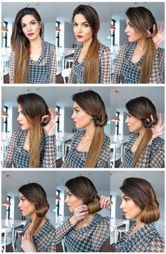 Peinados fáciles coleta lateral con recogido