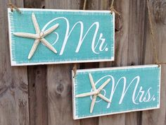 Mr. and Mrs. wedding chair signs for a beach wedding! | Starfish Mr and Mrs Sign | Starfish Wedding Ideas | Beach Wedding Decor | Sweetheart Table Chair Signs | Beach Wedding Ideas | #beachwedding #chairsigns