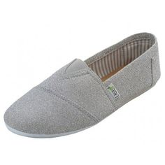 Womens Canvas Metallic Glitter Slip on Shoes Flats