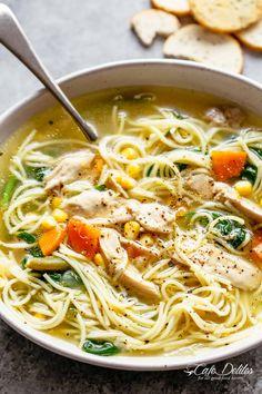 Big bowl of chicken noodle soup broth   cafedelites.com