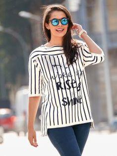 Sudadera de mujer de largo asimétrico con rayas verticales