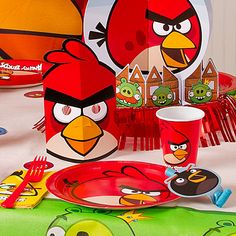 Start the snacking fun with Angry Birds tableware, then add themed favors at each place-setting. Click the pic for more Angry Birds party ideas!