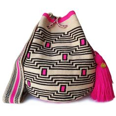 The stunning, one-of-a-kind, handmade crossbody has been carefully crocheted by women from the Wayuu tribe in La Guajira, Colombia. Tapestry Crochet, Knit Crochet, Mochila Crochet, Cross Stitch Owl, Diy Bags Purses, Handmade Handbags, Crochet Fashion, My Bags, Bucket Bag