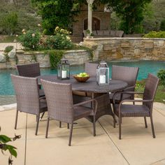 Best Selling Home Reynolds 7 Piece Wicker Patio Dining Set - Patio Dining Sets at Hayneedle