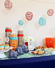 Party Bundles   Parties for Kids and Adults   kids Elephants, grey, teal, tangerine, boy party, unisex party, birthday, baby shower, circus theme, peanuts, printables, linens, reusable decorations to rent *eco-friendly