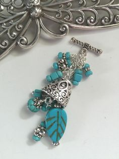 Turquoise & Pewter Beaded Pendant Necklace #213
