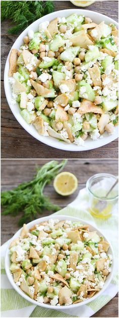 Cucumber, Chickpea, and Feta Salad Recipe on twopeasandtheirpod.com This simple and fresh salad is great served as a main dish or side dish. It's perfect for summertime!