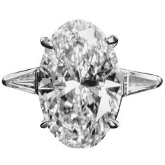 5.65 Carat E/VVS2 Oval Diamond Engagement Ring | From a unique collection of vintage engagement rings at https://www.1stdibs.com/jewelry/rings/engagement-rings/