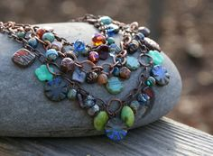 Colorful Chunky Czech Statement Necklace  by YaYJewelry on Etsy