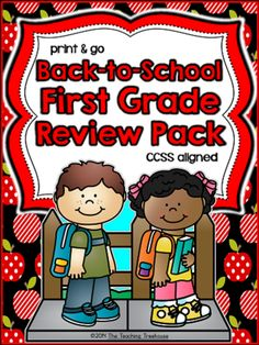 The Teaching Treehouse  from  Back to School First Grade Review Pack ~ Print & Go ~ CCSS Aligned on TeachersNotebook.com -  (80 pages) - Perfect for beginning of the year review for first grade, this packet covers most math and literacy skills learned by the end of the year in Kindergarten. Included are 80 ready-to-use, no prep printables in ink saving black and white.