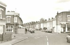 Landell Road, East Dulwich, Southwark, c.1995. East Dulwich developed rapidly in the decade after 1870 when the freeholders of the farms sold or leased them to development companies and small builders. As a result a landscape of small to medium sized terraced houses were built. This scene at the corner of Landell Road and Goodrich Roads is typical, down to the purpose-built and still successful shops.